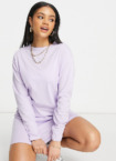 Missguided – Langärmliges Basic-T-Shirt-Kleid in Flieder-Lila