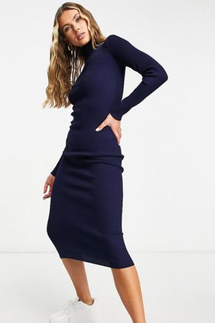 Missguided – Midaxi-Strickkleid mit Rollkragen in Marineblau