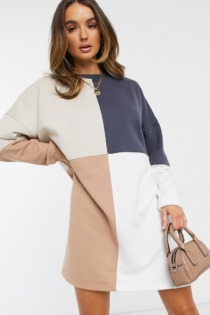 Missguided – Oversized-Sweatshirt-Kleid in Colourblock-Optik-Mehrfarbig