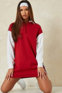 Missguided – Rugby-T-Shirt-Kleid mit Farbblockdesign-Rot