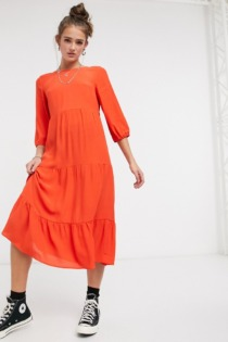 New Look – Gestuftes Midi-Hängerkleid mit 3/4-Arm, in Orange
