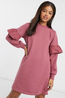 New Look – Mini-Sweatshirtkleid mit Rüschenärmeln in Rosa