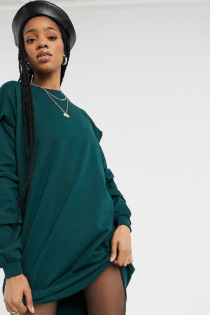 Noisy May Tall – Oversize-Sweatshirt-Kleid in Dunkelgrün-Grau