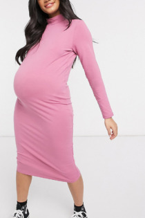 Outrageous Fortune Maternity – Exclusive – Hochgeschlossenes, langärmliges Midikleid in Staubrosa