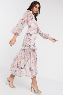 River Island – Langärmliges Kleid mit Paisley-Muster in Rosa