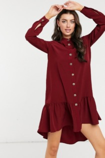 River Island – Mini-Hemdkleid in Rot mit gerafftem Saum