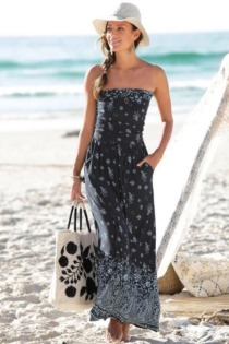 s.Oliver Beachwear Maxikleid, mit Bordürenprint