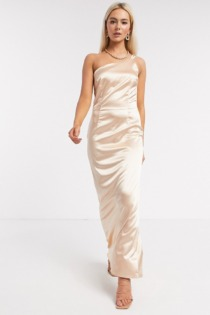 TFNC – Brautjungfern-Maxikleid aus Satin in Champagner mit One-Shoulder-Träger-Gold