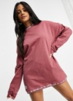The Couture Club – Oversize-Sweatshirt-Kleid in Rosé-Rosa