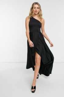 True Violet – Midi-Ballkleid mit One-Shoulder-Träger in Schwarz